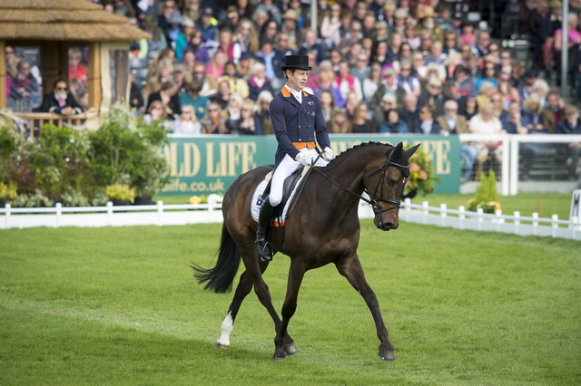 Australia's Christopher Burton and Graf Liberty produce a stunning test to take the lead after dressage at Badminton, fourth leg of the FEI Classics™, in a day of top 4* Eventing action that saw a complete change at the top of the leaderboard (FEI/Jon Stroud)