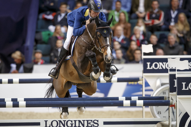 Germany's Christian Ahlmann and Taloubet Z won tonight's dramatic second leg of the Longines FEI World Cup™ Jumping 2016 Final in Gothenburg, Sweden. (FEI/Dirk Caremans)