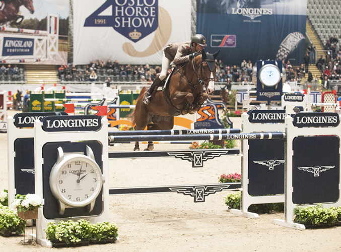 Italy's Alberto Zorzi was the surprise winner of today's first leg of the Longines FEI World Cup™ Jumping 2016/2017 Western European League at the Telenor Arena in Oslo (NOR) riding Fair Light van T Heike. (Mette Sattrup/FEI)
