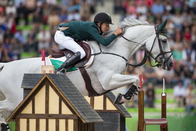 Ireland's Bertram Allen steered the lovely grey mare Molly Malone V to win the opening Speed leg of the Jumping Championships at the Alltech FEI World Equestrian Games™ in Caen, France today. (Dirk Caremans/FEI)