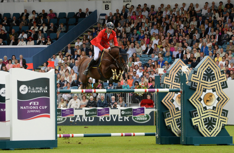 Piergiorgio Bucci and Casallo Z clinched victory for Italy in a jump-off at the penultimate leg of the Furusiyya FEI Nations Cup™ Jumping 2016 Europe Division 1 League in Dublin (IRL) today. (FEI/Tony Parkes)
