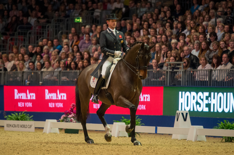 Britain's Carl Hester and Nip Tuck secured a spectacular victory at the sixth leg of the Reem Acra FEI World Cup™ Dressage 2015/2016 Western European League in Olympia, London (GBR) tonight. (FEI/Jon Stroud)