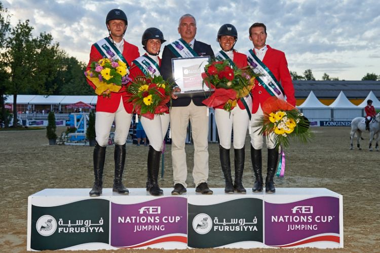 The team from the Czech Republic won the first leg of the Furusiyya FEI Nations Cup™ Jumping 2015 Europe Division 2 League at Linz, Austria today: (L to R) Ales Opatrny, Emma Augier de Moussac, Chef d'Equipe Martin Ohnheiser, Zuzana Zelinkova and Ondrej Zvara. (FEI/Herve Bonnaud)