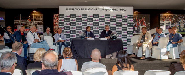 CSIO Barcelona Director Daniel Giro (left) and FEI Jumping Director John Roche (right) conducted today's draw for the starting order of the Furusiyya FEI Nations Cup™ Jumping 2016 Final which begins at the Real Club de Polo in Barcelona (ESP) tomorrow afternoon. (Dirk Caremans/FEI)