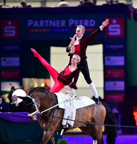 Germany's Pia Engelberty and Torben Jacobs were clear winners of the Pas-de Deux competition at today's fifth and last qualifying round of the FEI World Cup™ Vaulting 2015/2016 series in Leipzig, Germany. (FEI/Daniel Kaiser)
