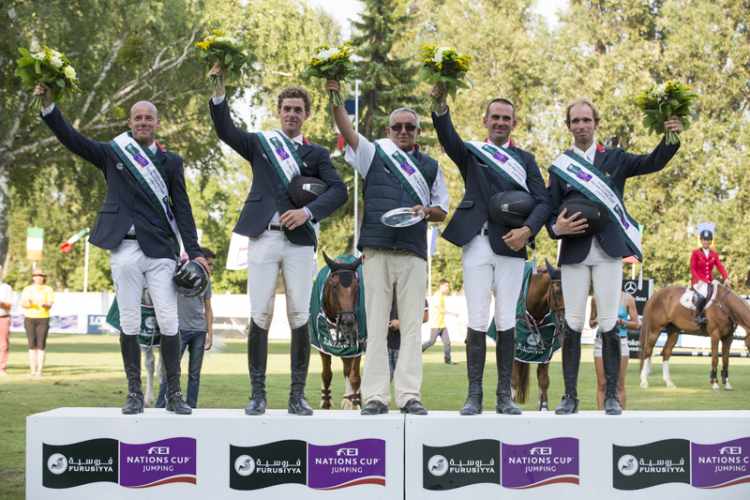France won the sixth leg of the Furusiyya FEI Nations Cup™ Jumping Europe Division 2 League at Bratislava, Slovakia today. (L to R) Marc Le Berre, Geoffroy de Coligny, Philippe Guerdat (Chef d'Equipe), Francois Xavier Boudant and Bernard Briant Chevalier. (FEI/Tomas Holcbecher)