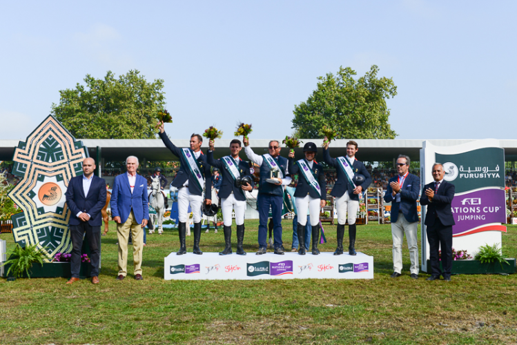 France won the penultimate leg of the Furusiyya FEI Nations Cup™ Jumping 2015 Europe Division 2 league at Gijon, Spain today. (L to R) Jaime de Rivera, Vice-President of the Spanish Equestrian Federation, Jesús Martinez Salvador, Gijón Town Council Sports Department President, team members Aymeric de Ponnat, Alexandre Fontanelle, Chef d'Equipe Philippe Guerdat, Adeline Hecart and Cyril Bouvard, Ramón Méndez Díaz, Coca-Cola Communications Department and Javier Revuelta, President of the Spanish N