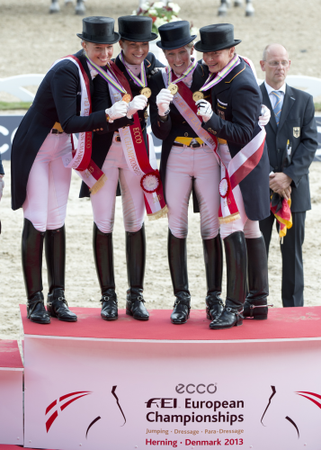 Fabienne Lutkemeier, Kristina Sprehe, Helen Langehanenberg and Isabell Werth clinched yet another team victory for Germany at the FEI European Dressage Championships at Herning, Denmark in 2013. (FEI/Kit Houghton)