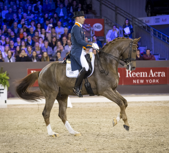 Reigning FEI World Cup™ Dressage champions, Hans Peter Minderhoud and Glock's Flirt from The Netherlands, put on a stunning performance to win today's ninth and last qualifying leg of the FEI World Cup™ Dressage 2016/2017 Western European League at 's-Hertogenbosch, The Netherlands. (Arnd Bronkhorst/FEI)
