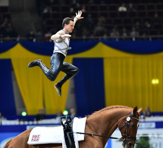 Germany's Daniel Kaiser claimed the Male Individual title at the thrilling FEI World Cup™ Vaulting 2015/2016 Final in Dortmund (GER) today. (FEI/Katja Kaiser)