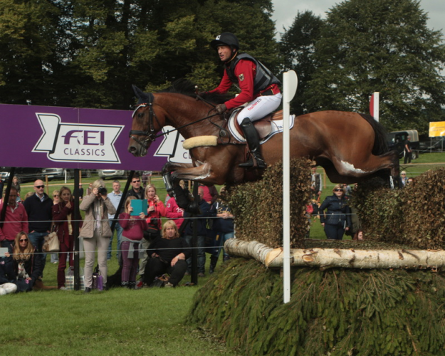 Master at work: Michael Jung (GER) and La Biosthetique Sam lead after Cross Country at the Land Rover Burghley Horse Trials (GBR), sixth and final leg of the FEI Classics™ 2014/2015. (Trevor Meeks/FEI)