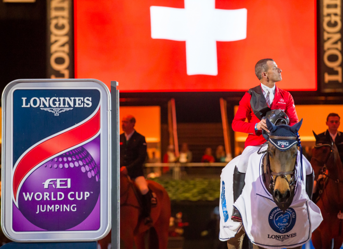 Pius Schwizer and PSG Future produced a superb host-nation victory at the tenth leg of the Longines FEI World Cup™ Jumping 2015/2016 Western European League in Zurich (SUI) today. (FEI/Tomas Holcbecher)