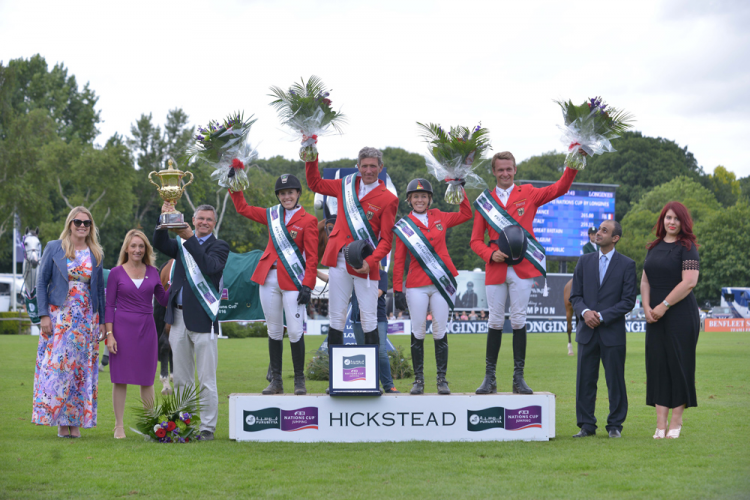Team Germany won the eighth and last leg of the Furusiyya FEI Nations Cup™ Jumping 2016 Europe Division 1 League at Hickstead (GBR) today. (FEI/Sebastian Oakley)
