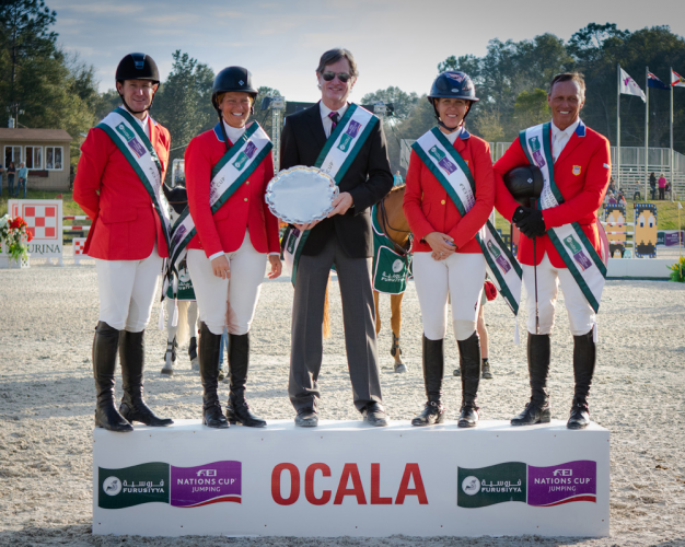 Team USA won the second leg of the Furusiyya FEI Nations Cup™ Jumping 2016 series in Ocala, Florida (USA) today (L to R), McLain Ward, Beezie Madden, Chef d'Equipe Robert Ridland, Lauren Hough and Todd Minikus. (FEI/Anthony Trollope)