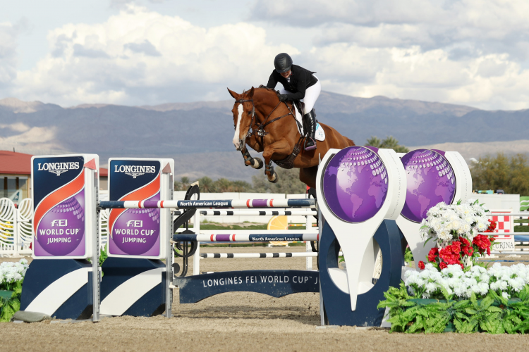 California girl Ashlee Bond (USA) and Chela LS win the final leg of the Longines FEI World Cup™ Jumping 2016/2017 North American League Western Sub-League. (FEI/Kristin Lee)