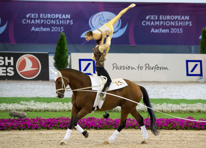 The reigning world and defending European champions, Jasmin Lindner and Lukas Wacha from Austria, clinched the Pas de Deux title once again the FEI European Vaulting Championships 2015 in Aachen, Germany today. (FEI/Dirk Caremans)