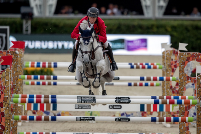Gregory Wathelet's brilliant last-to-go effort with Coree saw the defending champions from Belgium share top spot with Germany and USA in the first round of the Furusiyya FEI Nations Cup™ Jumping 2016 Final in Barcelona (ESP) today. (Dirk Caremans/FEI)