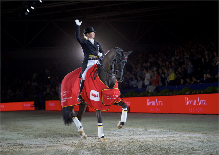 Germany's Isabell Werth won the seventh leg of the Reem Acra FEI World Cup™ Dressage 2015/2016 Western European League at the sold-out RAI Arena in Amsterdam (NED) today riding Weihegold. (FEI/Arnd Bronkhorst)