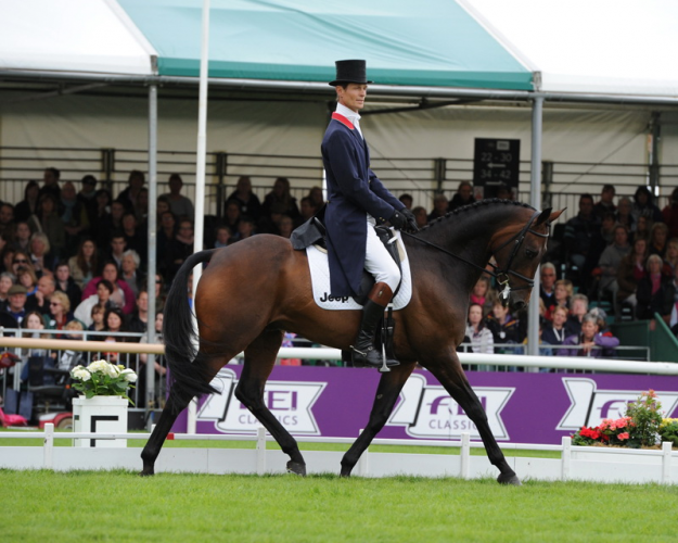 The race is on: William Fox-Pitt (GBR) and Fernhill Pimms draw level with Michael Jung (GER) and FischerRocana FST after Dressage at the Land Rover Burghley Horse Trials (GBR), sixth and final leg of the FEI Classics™ 2014/2015. (Trevor Meeks/FEI)