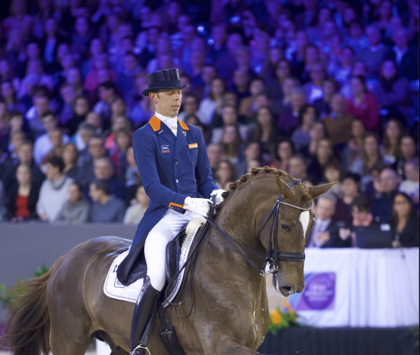 Hans Peter Minderhoud steered Glock's Flirt to a stylish victory at the ninth and last qualifying leg of the Reem Acra FEI World Cup™ Dressage 2015/2016 Western European League on home ground at 's-Hertogenbosch, The Netherlands today. (FEI/Arnd Bronkhorst)