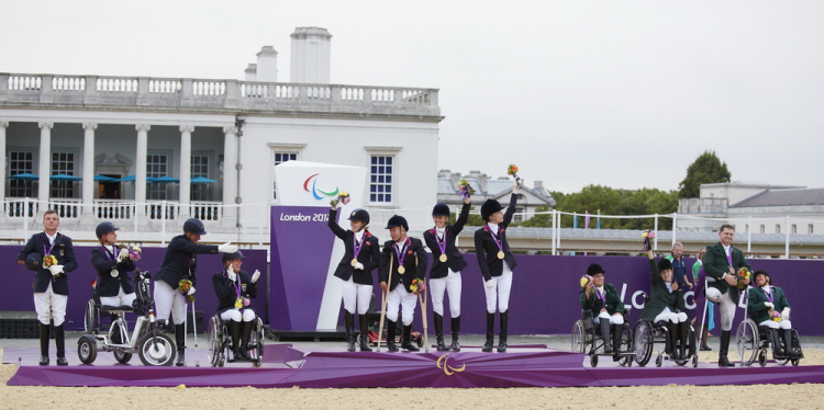 London 2012 Team podium, Great Britain in gold, Germany in silver and Ireland in bronze (FEI/Liz Gregg)